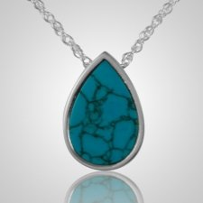 Turquoise Tear Drop Keepsake Pendant