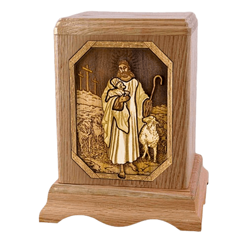 Lord is my Shepherd Oak Companion Urn