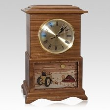 Tractor Clock Walnut Cremation Urn