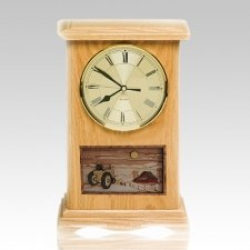 Tractor Clock Oak Cremation Urn