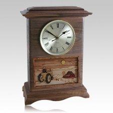 Tractor Clock Walnut Cremation Urn