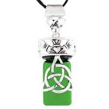 Trinity Heart Green Cremation Necklace