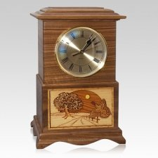 Turkey Clock Walnut Cremation Urn