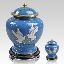 Two Doves Cloisonne Cremation Urns