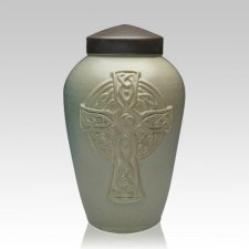Celtic Cross Ceramic Cremation Urn