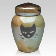 Raku Cat Ceramic Cremation Urn
