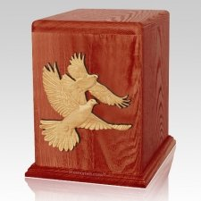 Love Birds Cherry Cremation Urn For Two