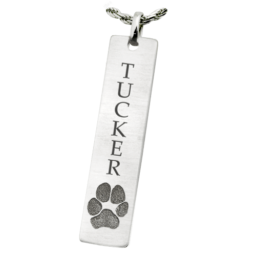 Classic Vertical Paw Print 14K White Gold Keepsake