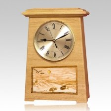 Walk On The Beach Astoria Clock Oak Cremation Urn