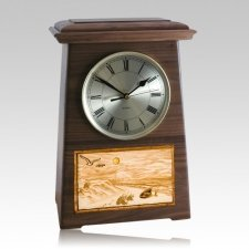 Walk On The Beach Astoria Clock Walnut Cremation Urn