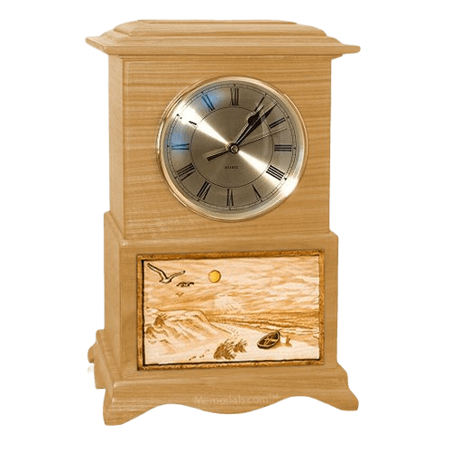 Walk on the Beach Clock Oak Cremation Urn