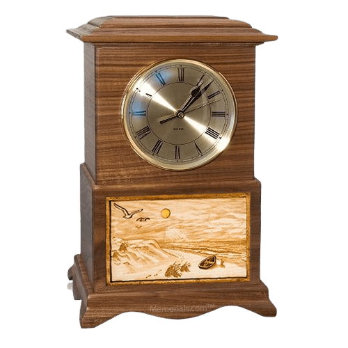 Walk on the Beach Clock Walnut Cremation Urn