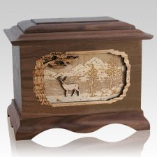 Deer Walnut Cremation Urn