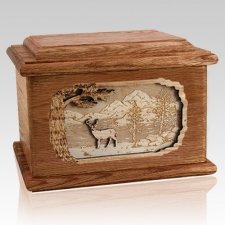 Deer Walnut Memory Chest Cremation Urn