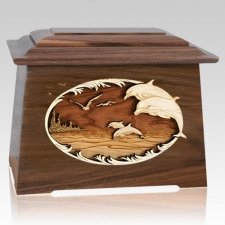 Dolphins Walnut Aristocrat Cremation Urn