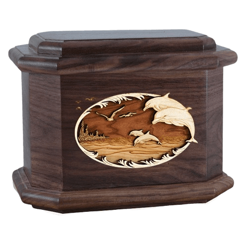 Dolphins Walnut Octagon Cremation Urn