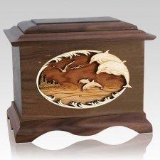 Dolphins Walnut Cremation Urn