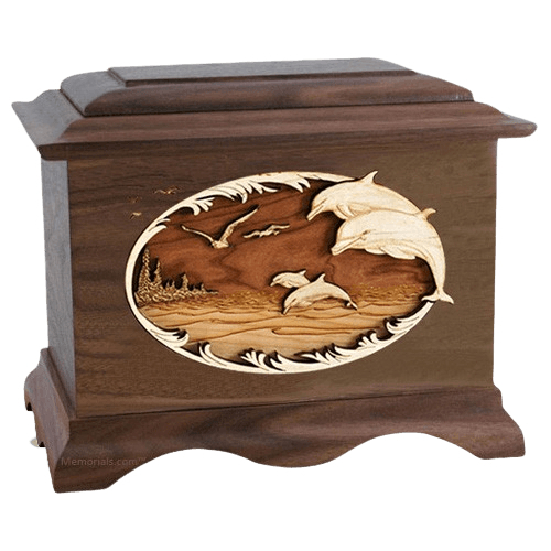 Dolphins Walnut Cremation Urn