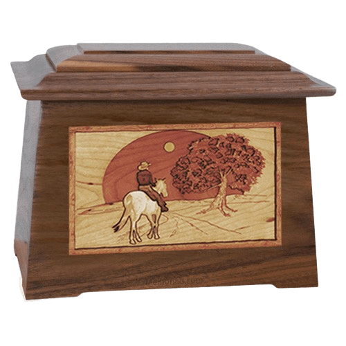 Horse & Moon Walnut Aristocrat Cremation Urn