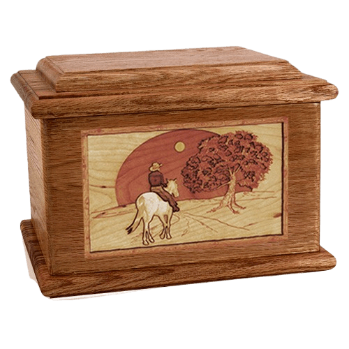 Horse & Moon Walnut Memory Chest Cremation Urn