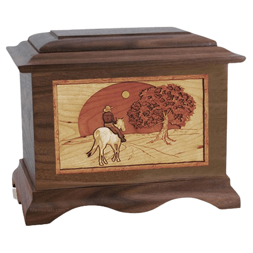 Horse & Moon Wood Cremation Urns
