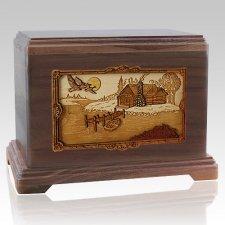 Rustic Paradise Walnut Hampton Cremation Urn