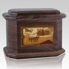 Rustic Paradise Walnut Octagon Cremation Urn