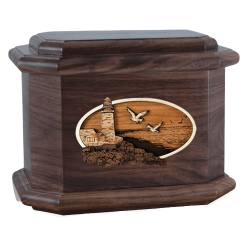 Sea Coast Walnut Octagon Cremation Urn