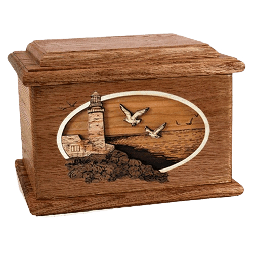 Sea Coast Walnut Memory Chest Cremation Urn