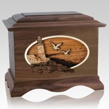 Sea Coast Walnut Cremation Urn