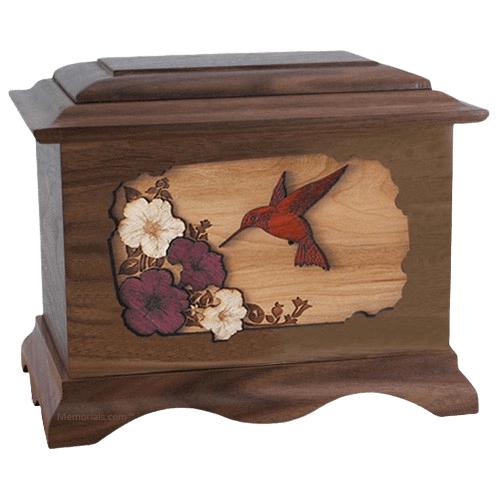 Hummingbird Walnut Cremation Urn
