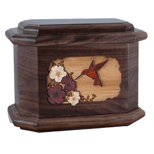 Hummingbird Walnut Octagon Cremation Urn