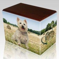 Bailing Hay Walnut Pet Picture Urn III