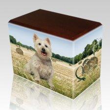 Bailing Hay Walnut Pet Picture Urn II