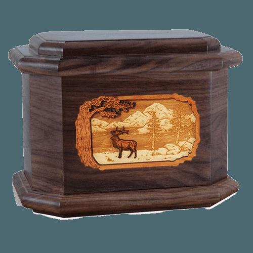 Elk Walnut Octagon Cremation Urn