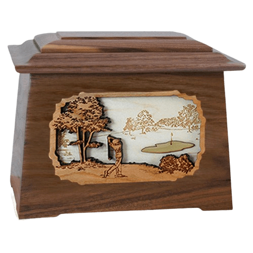 Golf Walnut Aristocrat Cremation Urn