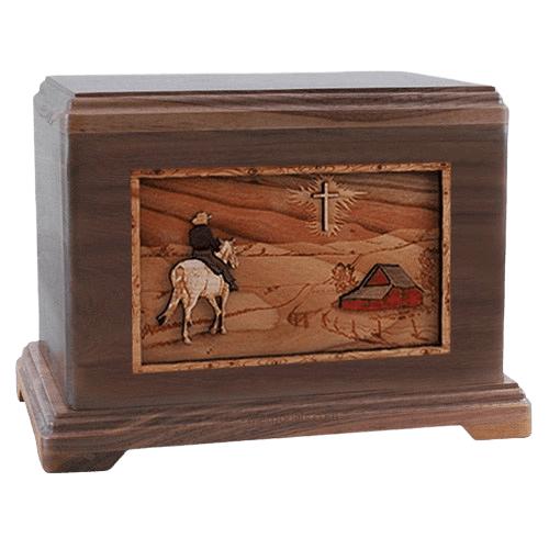 Horse & Cross Walnut Hampton Cremation Urn