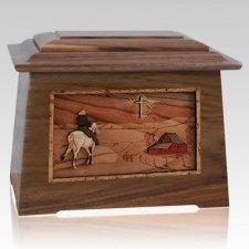 Horse & Cross Walnut Aristocrat Cremation Urn