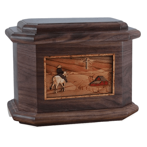 Horse & Cross Walnut Octagon Cremation Urn