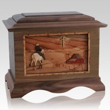 Horse & Cross Wood Cremation Urns