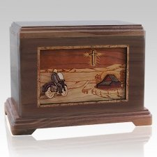 Motorcycle & Cross Walnut Hampton Cremation Urn