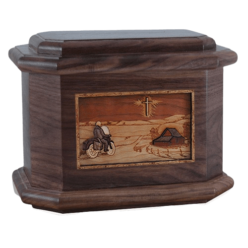 Motorcycle & Cross Walnut Octagon Cremation Urn