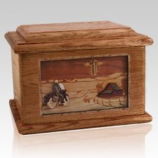 Motorcycle & Cross Walnut Memory Chest Cremation Urn