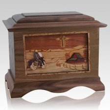 Motorcycle & Cross Wood Cremation Urns
