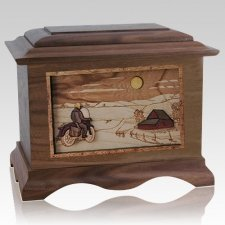 Motorcycle Moon Wood Cremation Urns
