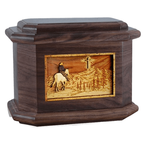 Last Horse Ride Walnut Octagon Cremation Urn
