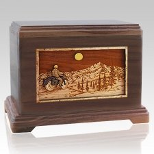 Motorcycle Mountains Walnut Hampton Cremation Urn