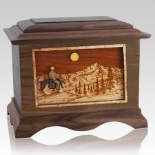 Motorcycle Mountains Wood Cremation Urns