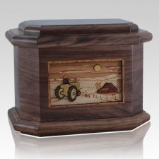 Tractor & Moon Walnut Octagon Cremation Urn
