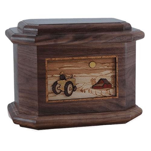 Tractor & Moon Walnut Octagon Cremation Urn